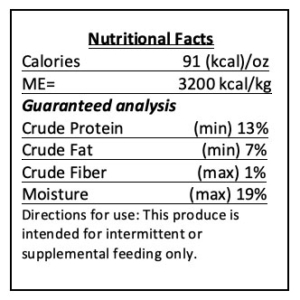 Banana Peanut Butter nutrition label