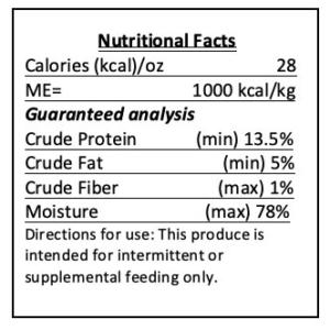 Beef Dog food nutrition label