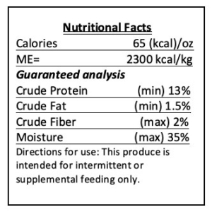 pumpkin disc food nutrition label