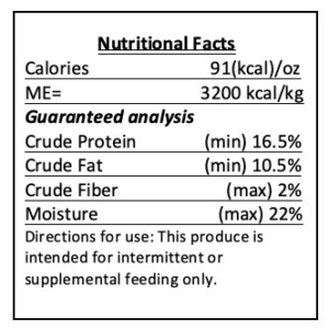 training treat nutrition label